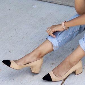 Zara cap toe black & tan pointed mid block heels